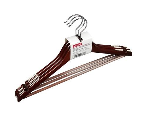 Вешалка-плечики деревянная Attache с выемками и перекладиной размер 48-50 орех 3 штуки в упаковке - (280410К)
