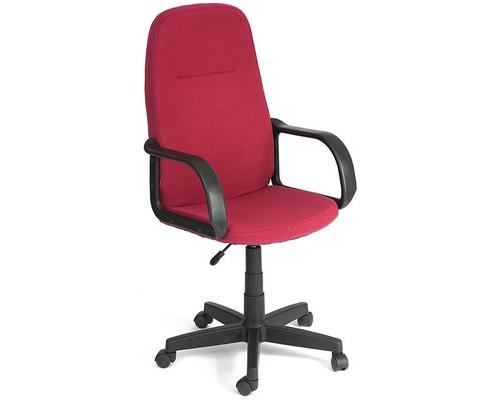 Кресло для руководителя Leader бордовая ткань/пластик - (418886К)
