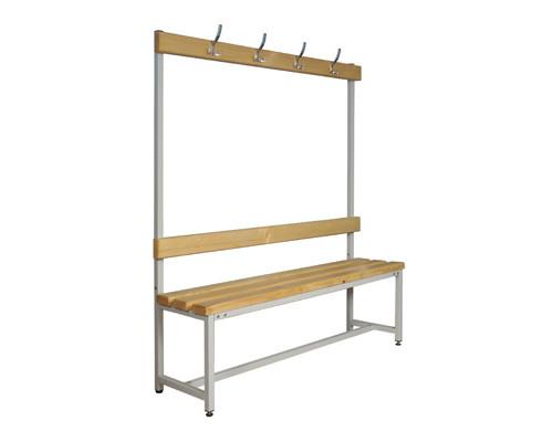 Скамья деревянная СКП-1В-1500 со спинкой и вешалкой сосна 1500х390х1670 мм - (237724К)
