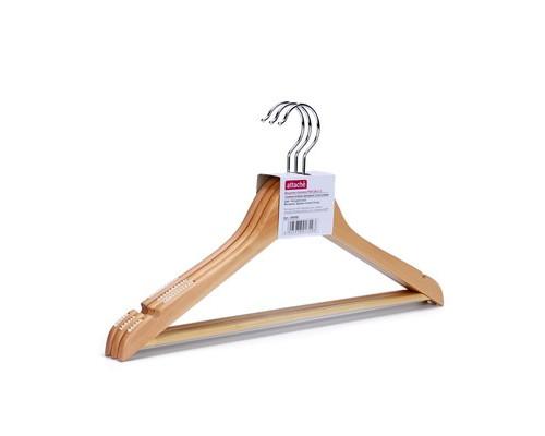 Вешалка-плечики деревянная Attache с выемками и перекладиной натуральная размер 46 3 штуки в упаковке - (280408К)