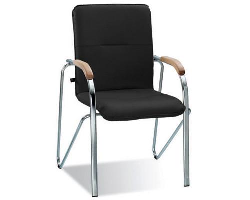Конференц-стул Samba черный искусственная кожа/вишня/металл хромированный - (183033К)