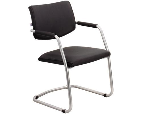 Конференц-стул Delta silver на полозьях черный искусственная кожа/металл серебристый - (234635К)