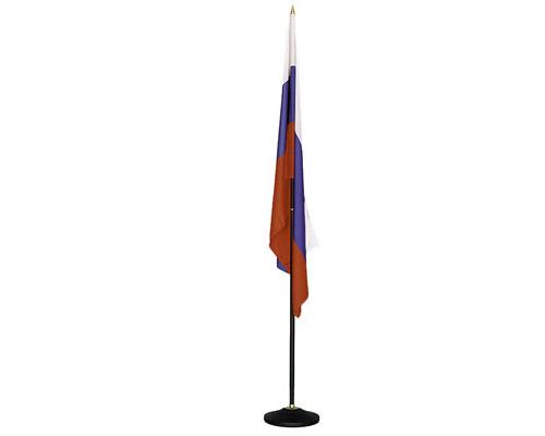 Флаг России напольный 135x90 см с черным флагштоком 223 см - (50238К)