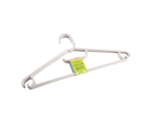 Вешалка-плечики универсальная пластиковая с перекладиной белая размер 48 3 штуки в упаковке - (656522К)