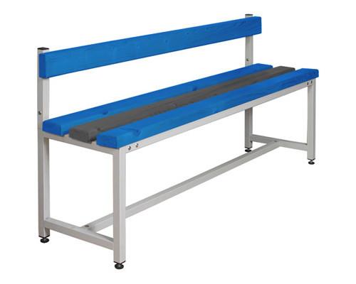 Скамья пластиковая СКП-1С-1500 на металлокаркасе со спинкой синяя/серая 1500х390х740 мм - (290630К)