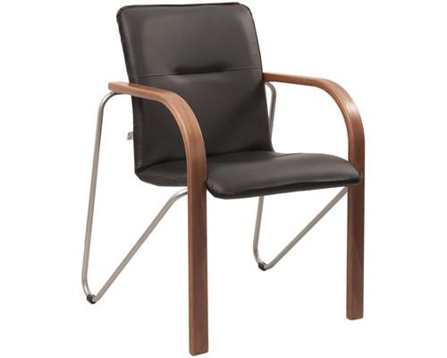 Конференц-стул Salsa silver черный искусственная кожа/темный орех/металл серебристый - (244446К)