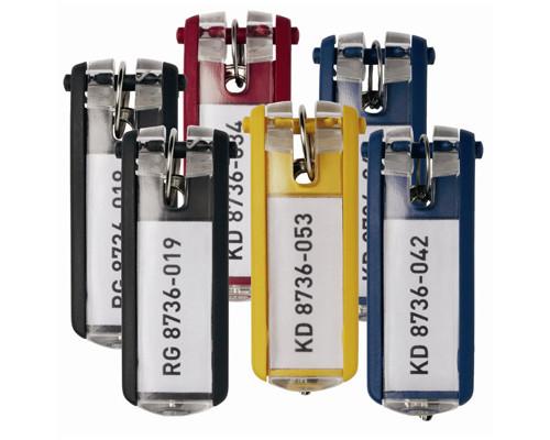 Набор брелков на ключи Durable Key Clip с маркировкой разноцветные 6 штук - (195507К)