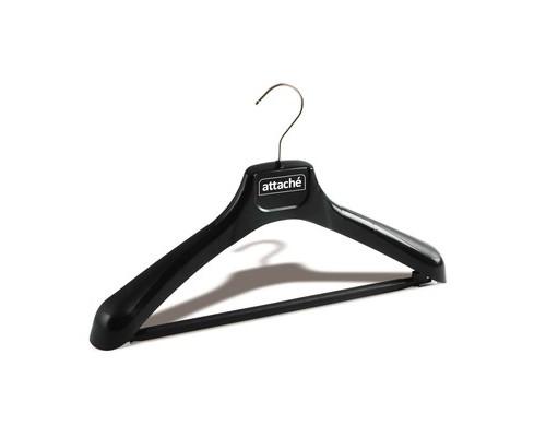 Вешалка-плечики пластмассовая Attache со съемной перекладиной черная размер 46-48 - (49915К)