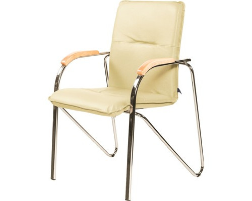Конференц-стул Samba светло-бежевый искусственная кожа/бук/металл хромированный - (622245К)