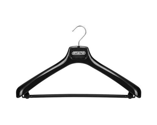 Вешалка-плечики пластмассовая Attache со съемной перекладиной черная размер 50-52 - (49913К)
