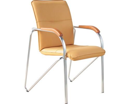 Конференц-стул Samba бежевый искусственная кожа/бук/металл хромированный - (183032К)