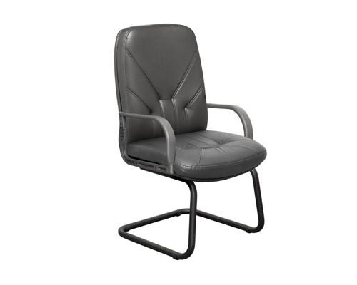 Конференц-кресло Менеджер на полозьях черное кожа/пластик/металл черный - (125027К)