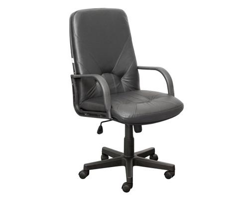 Кресло для руководителя Менеджер черное кожа/пластик - (147729К)
