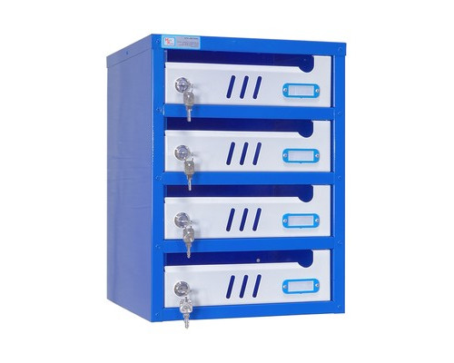 Ящик почтовый ЯПС-3 4-секционный металлический белый/синий 310 x 320 x 420 мм - (410551К)