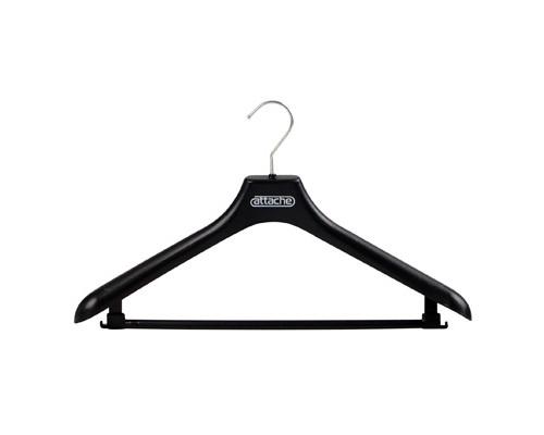Вешалка-плечики пластмассовая Attache с перекладиной черная размер 48-50 - (142376К)