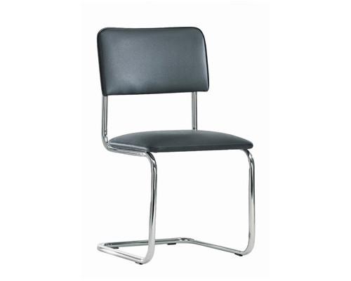 Конференц-стул Silwia на полозьях черный искусственная кожа/металл хромированный - (123949К)