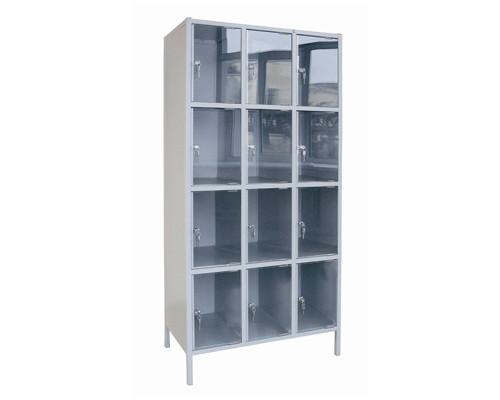 Шкаф для сумок ШМ-12КХ-С с дверями из оргстекла на 12 ячеек - (286890К)