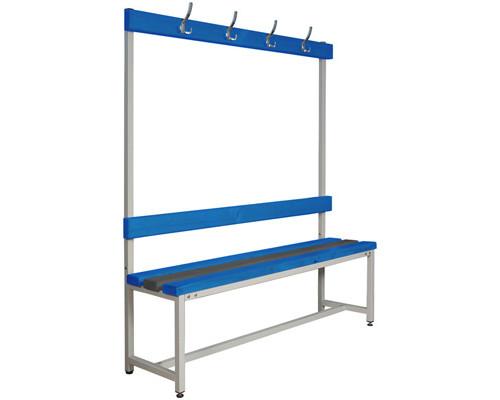 Скамья пластиковая СКП-1В-1500 со спинкой и вешалкой синяя/серая 1500х390х1670 мм - (290766К)