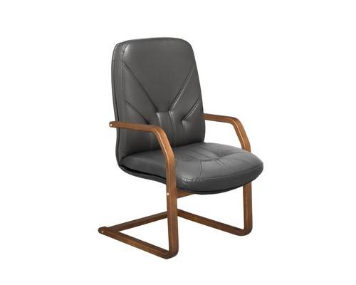 Конференц-кресло Менеджер на полозьях черное кожа/орех - (125029К)
