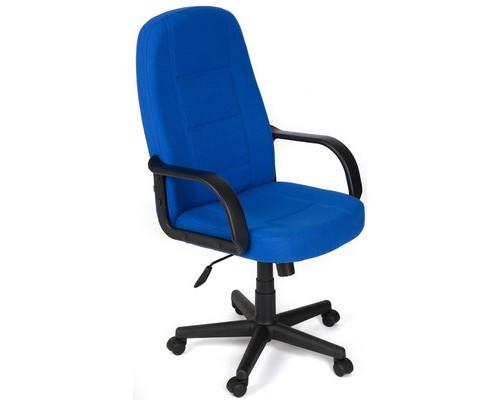 Кресло для руководителя 747 синее ткань/пластик - (124681К)