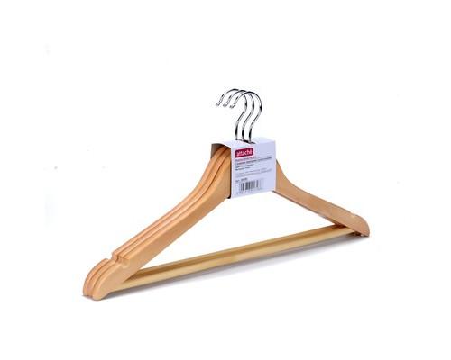 Вешалка-плечики с выемками и перекладиной 3 штуки в упаковке цвет натуральный - (280396К)