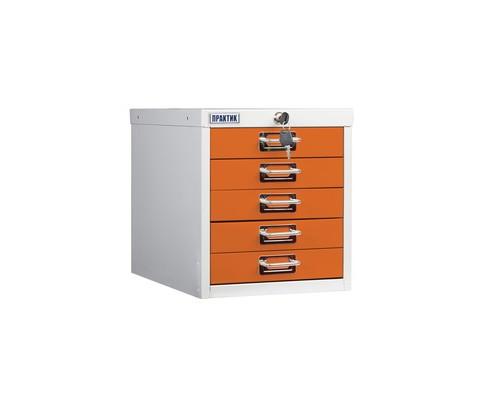 Шкаф Практик MDC-315/5 серый/оранжевый 5 ящиков - (544529К)