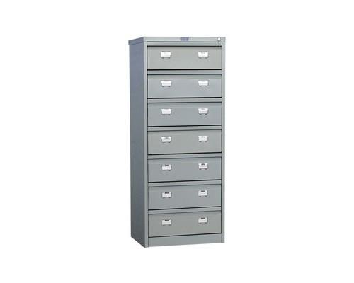 Шкаф картотечный металлический Практик AFC-07 для документов А5 7 отделений 515x631x1327 мм - (44638К)
