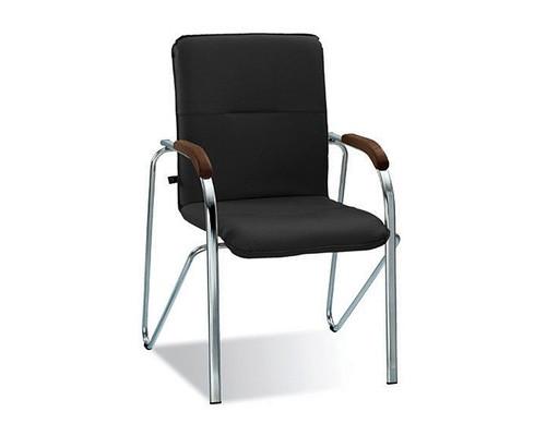 Конференц-стул Samba черный искусственная кожа/орех/металл хромированный - (183031К)