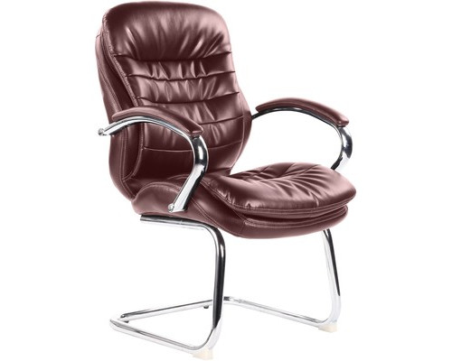 Конференц-кресло Easy Chair 515 VR на полозьях коричневое рециклированная кожа/металл хромированный - (322952К)
