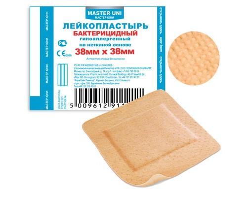 Пластырь бактериц. Master Uni 3,8 х 3,8 см, нетканая основа