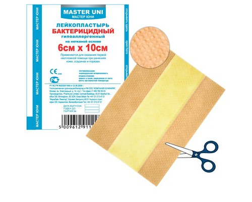 Пластырь бактериц. Master Uni 6,0 х 10 см, нетканая основа
