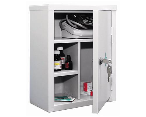 Метал.Мебель P_АМ-1 аптечка белая, ключ.замок 300х160х380