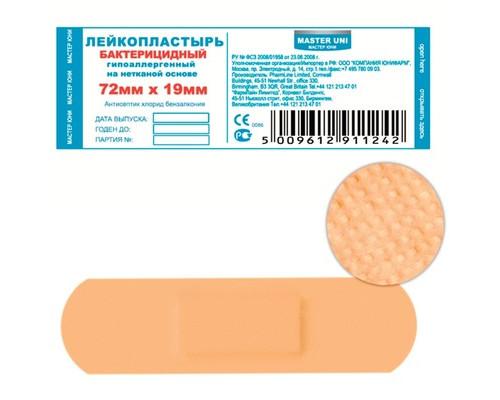 Пластырь бактериц. Master Uni 7,2 х 1,9 см №10, нетканая основ