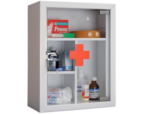 Метал.Мебель ПРАКТИК AMD-39G Аптечка со стекл.двер, кл.зам, 300х160х390
