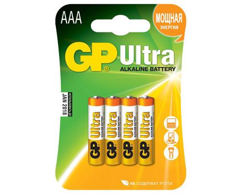 Батарейки GP Ultra мизинчиковые ААA LR03 4 штуки в упаковке - (273408К)