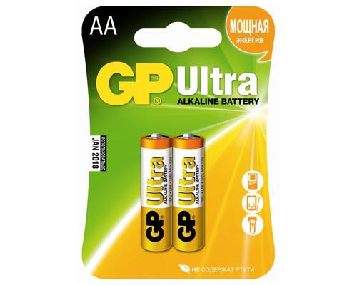 Батарейки GP Ultra пальчиковые АА LR6 2 штуки в упаковке - (73533К)