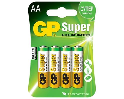 Батарейки GP Super пальчиковые AA LR6 4 штуки в упаковке - (73532К)
