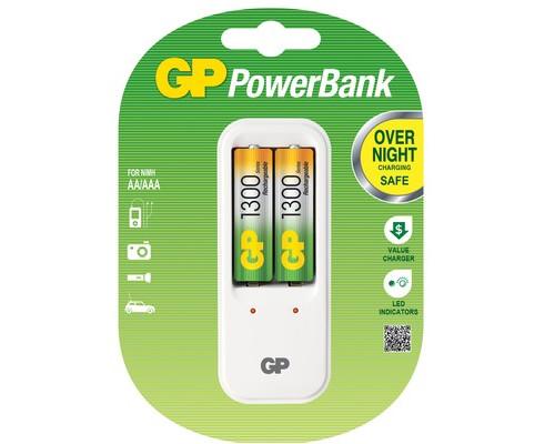 Зарядное устройство GP PB410GS130 для 2-х аккумуляторов АА/ААА в комплекте 2 аккумулятора АА емкостью 1300 mAh - (391076К)
