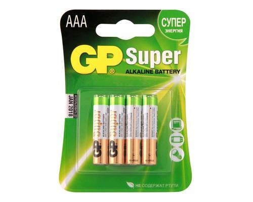 Батарейки GP Super мизинчиковые ААA LR03 4 штуки в упаковке - (273407К)