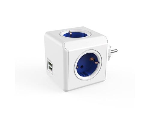 Разветвитель Allocacoc Original 4 розетки + USB синий - (664741К)