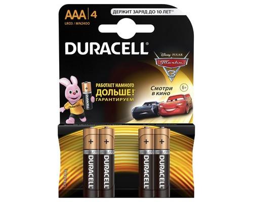 Батарейки Duracell Basic мизинчиковые ААA LR03 4 штуки в упаковке - (111690К)