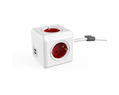 Разветвитель Allocacoc Extended 4 розетки + USB кабель 1.5 м красный - (664744К)