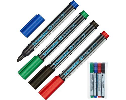 Набор маркеров универсальных для досок и флипчартов Schneider S290 cap off толщина линии 2 мм 4 цвета - (98048К)