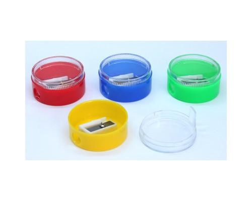 Точилка для карандашей с контейнером цветная 12 штук - (555694К)