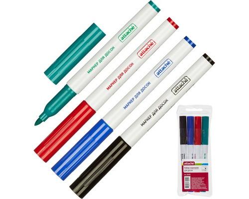 Набор маркеров для досок Attache 4 цвета толщина линии 1-3 мм - (560463К)