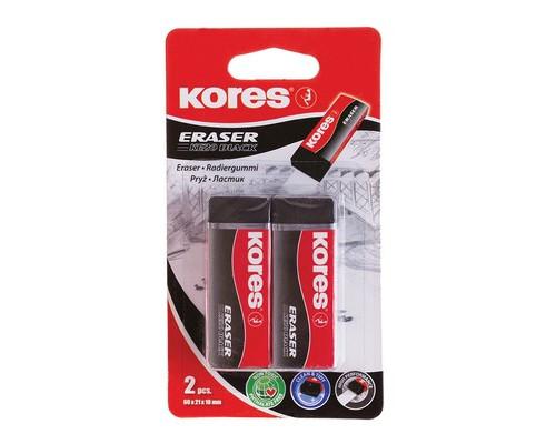Ластик Kores KE-20 Black виниловый черный 2 штуки - (456679К)