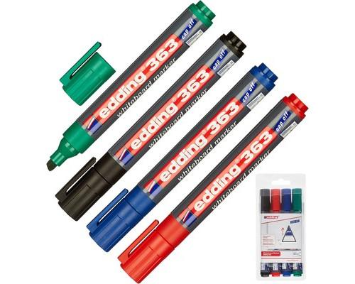 Набор маркеров для досок Edding 363-4S cap off толщина линии 1-5 мм 4 цвета - (87764К)