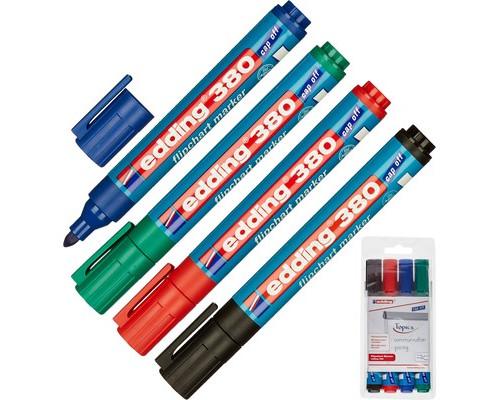Набор маркеров для флипчартов Edding E-380-4s cap off толщина линии 2.2 мм 4 цвета - (48285К)