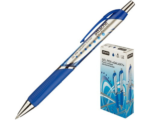 Ручка гелевая автоматическая Attache Selection Galaxy синяя толщина линии 0.5 мм - (389765К)