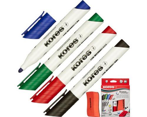 Набор маркеров для досок Kores с губкой толщина линии 3 мм 4 цвета - (369781К)